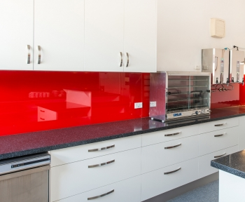 SA Bridge Club, Unley, SA<br>Clear Toughened, Painted Red